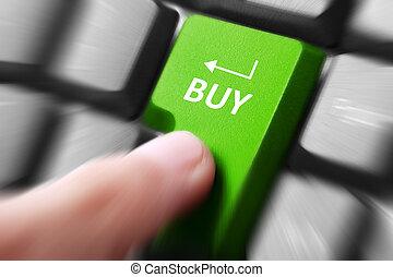 toetsenbord, drukken, knoop, kopen, hand