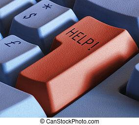 toetsenbord, gaan sleutel in, met, bijzondere , word-, helpen