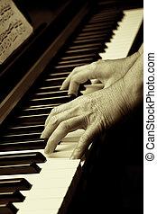 toetsenbord, ivoor, gemaakt, piano, handen