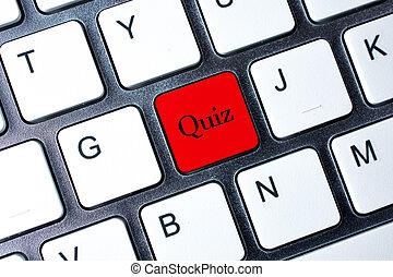 toetsenbord, knoop, computer, witte , quiz