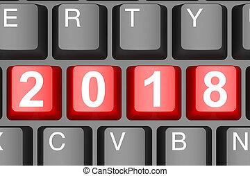toetsenbord, knoop, moderne, computer, 2018, jaar