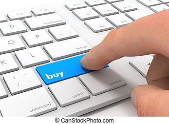 toetsenbord, kopen, concept, illustratie, 3d