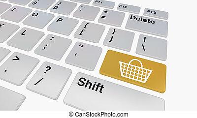 toetsenbord, met, blauwe , verkopen, knoop