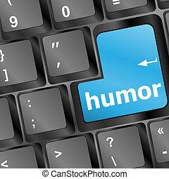 toetsenbord, met, humor, woord
