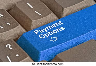 toetsenbord, met, klee, voor, betaling, opties
