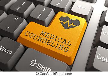 toetsenbord, met, medisch, counceling, sinaasappel, button.