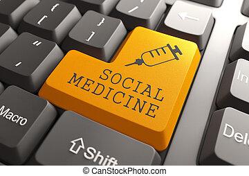 toetsenbord, met, sociaal, geneeskunde, sinaasappel, button.
