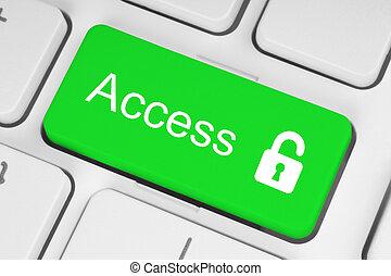 toetsenbord, slot, groene, toegang, open, concept, knoop