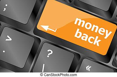 toetsenbord toetst, met, geld, back, tekst, op, knoop