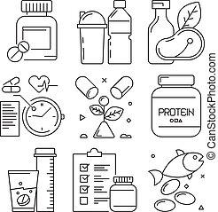 toevoegsel, activiteiten, opleiding, vitamine, voedingsmiddelen, gym, goed, icons., symbolen, vector, gezondheid, oefening, fitness, lijn, sportende, dieet-