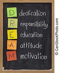 toewijding, houding, opleiding, verantwoordelijkheidsgevoel,...