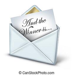 toewijzen, winnaar, enveloppe