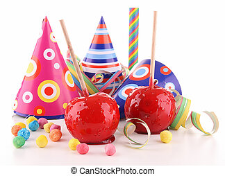 toffee apple and party decoration