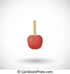 Toffee apple or red candy apple vector flat icon