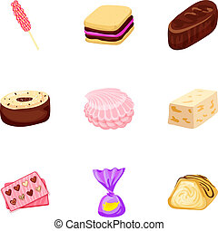 Toffee candy icon set, cartoon style