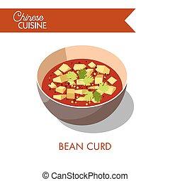 tofu, ボール, 隔離された, スープ, 豆, white., カード