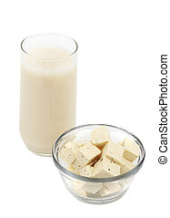 tofu and soy beverage - soy beverage and cube of fresh fine...