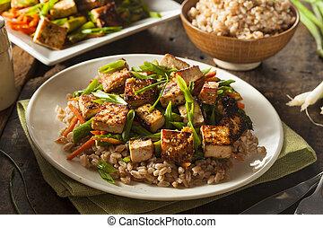 tofu, braten, rühren, selbstgemacht