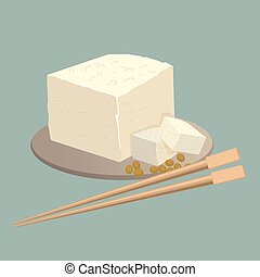 Tofu cheese on plate with chopsticks isolated. Healthy...