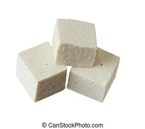 Tofu Cubes - Fresh Tofu cubes isolated on white