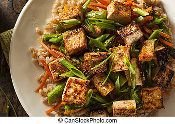 tofu, fry, かくはん, 手製