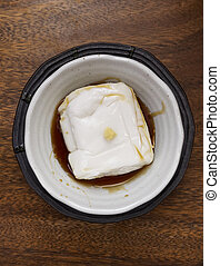 tofu in bowl top view