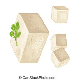 Tofu. Vector color flat illustration isolated on white background.