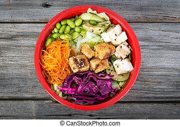 tofu, vegetáriánus, zsák, tál, felett, erdő, asztal, magas...