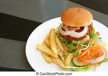 Tofu Vegetarian Burger With French Fries