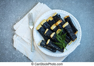 Tofu with nori on a plate
