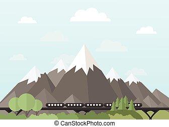 tog, bjergene