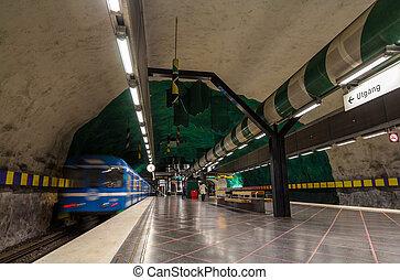 tog, efterlader, huvudsta, underjordisk station, ind, stockholm