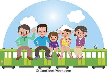 tog, familie, glade