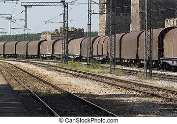 tog, forbigående, station, jernbane, fragt