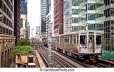 tog, gribende, den, tracks, ind, chicago
