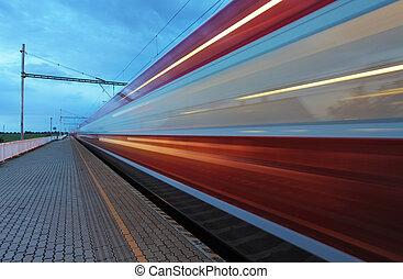 tog, ind, jernbane, hos, hastighed