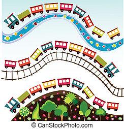 tog, mønster, stykke legetøj