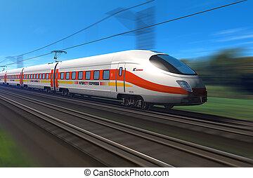 tog, moderne, hastighed, høj