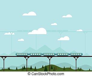 tog, på, en, bro