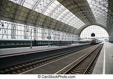 tog, station, det ankommer