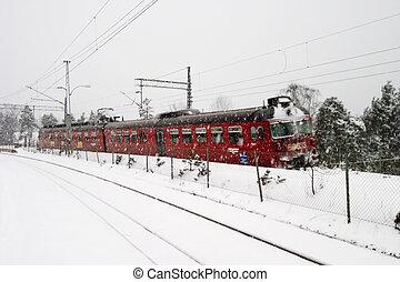 tog station, vinter