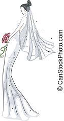 toga, bridal, schets