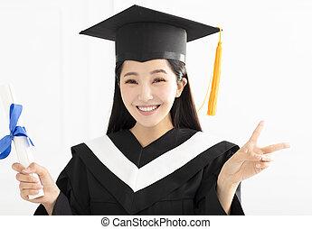 toga, pet, afgestudeerd, vieren, meisje, vrolijke