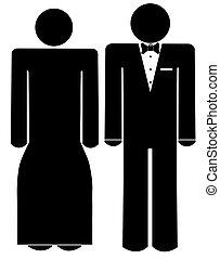 toga, vrouw, geklede, -, slijtage, tuxedo, formeel, man