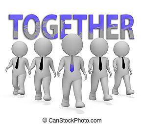 Together Businessmen Representing Teamwork Unity 3d Rendering