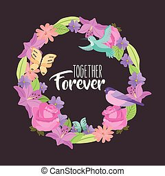together forever weath flowers bird butterfly black background