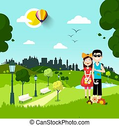 Together in City Park. man and Woman in Love cartoon. Vector Urban Landscape.