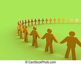 Together - 3d people holding hands and forming a big circle.