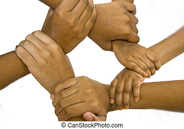 Together We Can! - Conceptual shot of kids gripping their...