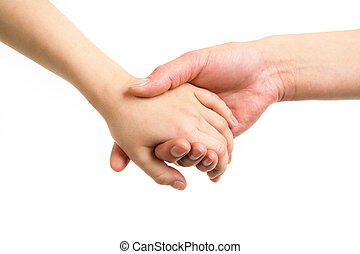 Togetherness - Close-up of mother and child holding by hands...